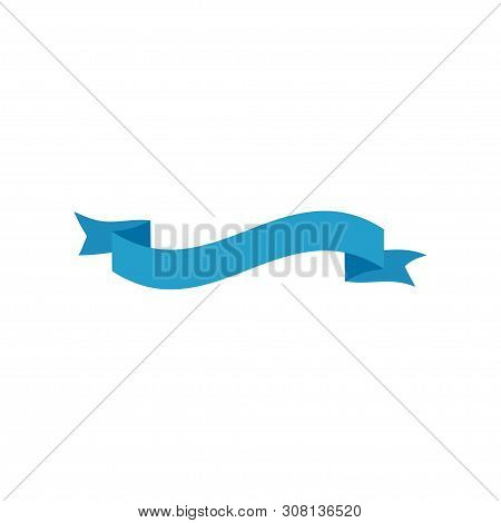 Ribbon Banner. Ribbon Banner Vector Icon. Ribbon Banner Blue Color Isolated On White Background