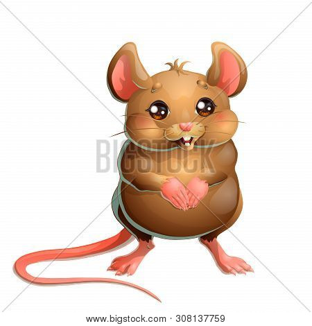 The Cute Brown Mouse On White Background