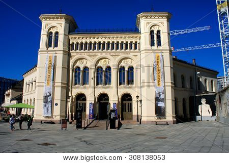 Oslo, Norway: May 1, 2019 - Famous Beautiful Building Of Nobel Peace Centre At Night, Located By The