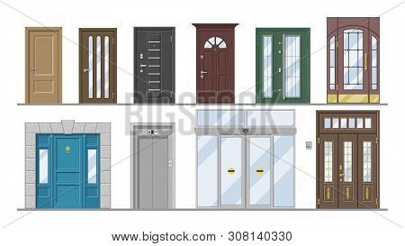 Doors Vector Doorway Front Entrance Lift Entry Or Elevator Indoor House Interior Illustration Set Ex
