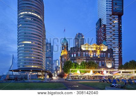 Rotterdam, Netherlands - June 24, 2019: Hotel New York At The Kop Van Zuid In Rotterdam And The Eras