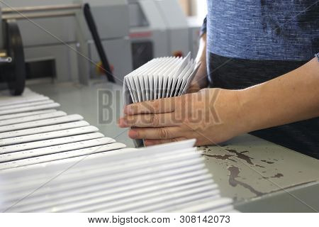 Printing House. Packaging Of Printed Leaflets. Advertising Stuff