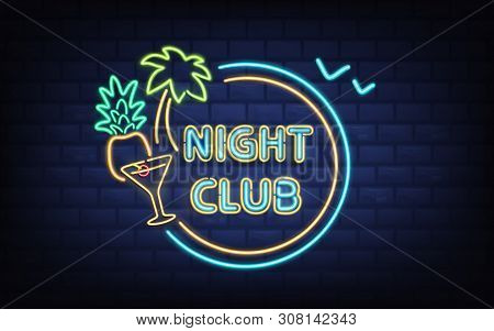 Resort Night Club, Beach Cocktail Bar Retro Signboard With Palm Tree, Coconut, Cocktail Glass Glowin