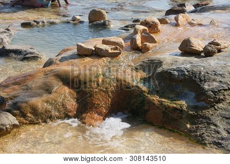 Famous Hot Springs Pouring Out In The Sea In Village Of Aidipsos, North Evoia Island, Greece