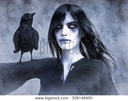 3d Rendering Of A Dead Ghost Woman Wraith With A Black Crow On Her Arm. Foggy Or Smokey Background.