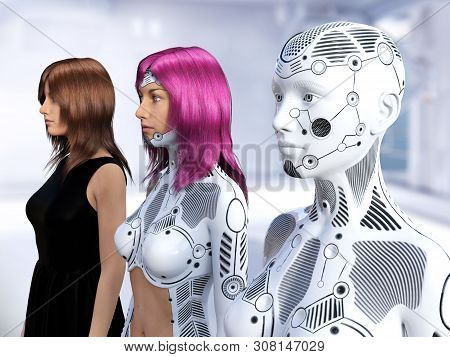 3d Rendering Of Three Women In Different Stages Of The Evolution Of Robots. Robot Technology Concept