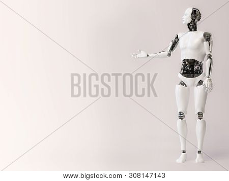 3d Rendering Of A Male Robot Doing A Presentation, Holding His Arm Out Like He Is Presenting Or Show