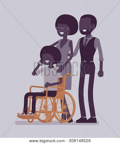 Family With A Disabled Child. Parents With A Teen Daughter Sitting In Wheelchair, Phone Talking, Soc