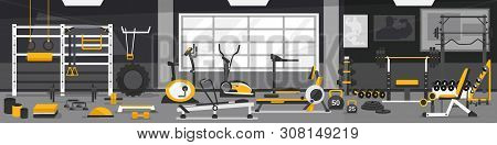 Gym Zoning Concept. Gym Of Fitness Center Interior Design In Cartoon Style With Weights Equipment An