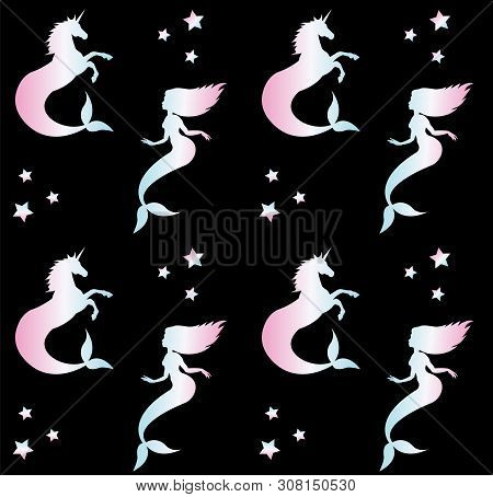 Vector Seamless Pattern Of Holographic Silhouette Of Hippocampus And Mermaid Isolated On Black Backg