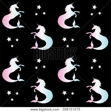 Vector Seamless Pattern Of Holographic Hippocampus Unicorn Mermaid Silhouette Isolated On Black Back