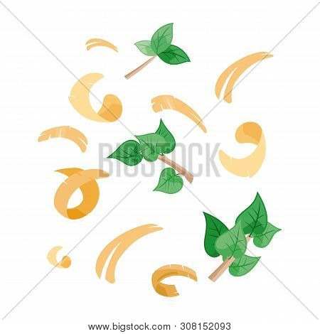 Abstract Vector Background With Wood Shavings, Branches And Leaves Isolated On White. Sawdust Of Woo