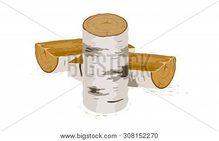 Vector Picture Shows Stabbed Birch Logs Near Stump On White Background Isolated Illustration