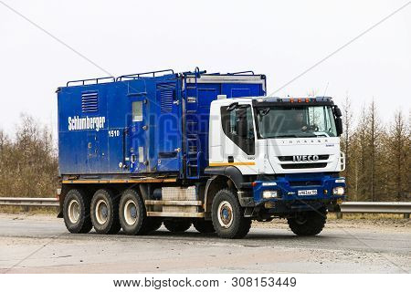 Novyy Urengoy, Russia - June 9, 2019: Schlumberger Oil And Gas Service Truck Iveco Trakker At The In