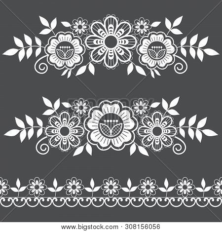 Lace Single Patterns Collection, Ornamental Pattern With Roses, Flowers And Swirls, Detailed Lace Mo