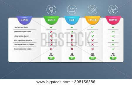 Success, Stairs And Line Chart Icons Simple Set. Comparison Table. Face Accepted Sign. Award Reward,