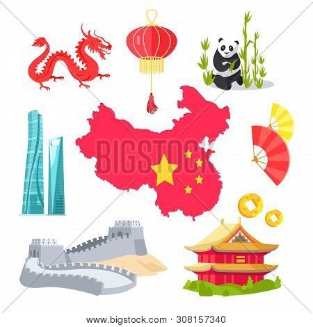 Panda With Bamboo Vector, Map Of Chinese Country With Flag And Stars, Mythological Dragon Creature,