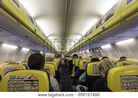 London, United Kingdom - June 11, 2019: Inside Ryanair Airplane During A Flight. Ryanair Is The Bigg