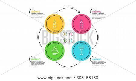 Wine Bottle, Beer Bottle And Cappuccino Cream Icons Simple Set. Infographic Timeline. Martini Glass