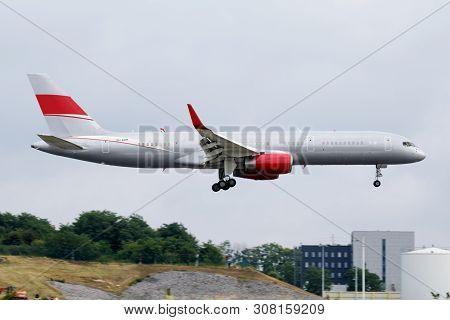 Liege / Belgium - July 2, 2017: Jetmagic Boeing 757-200 9h-avm Passenger Plane Landing At Liege Airp