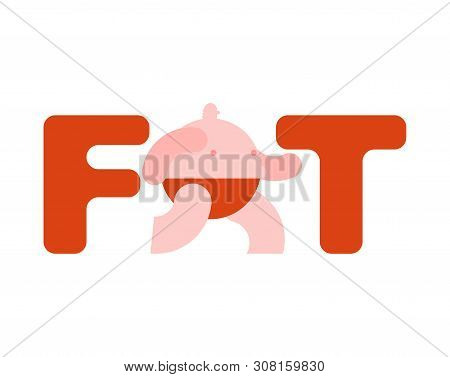 Fat Sign Isolated. Fat Man Icon Vector