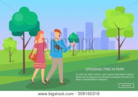 Couple Walking In Park Near Trees And Skyscraper, Portrait View Of Lovers With Holding Hands, People
