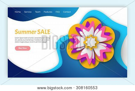 Papercut 3d flower, summer discount and spring sale vector, flowers and blossom brochure with information about clearance, sales and special offers from shops. Website or landing page flat style poster
