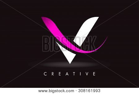 V Letter Design Logo. Letter V Icon Logo With Modern Swoosh Vector Illustration.