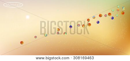 Breezy Space And Signs Confetti. Background Color. Liquid Colorific Illustration. A New Ultra Wide C