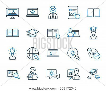 Education Line Icons. Laptop, Book And Video Tutorial Icons. Graduation Cap, Instructions And Presen
