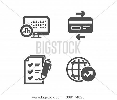 Set Of Report Statistics, Credit Card And Survey Checklist Icons. World Statistics Sign. Graph Chart