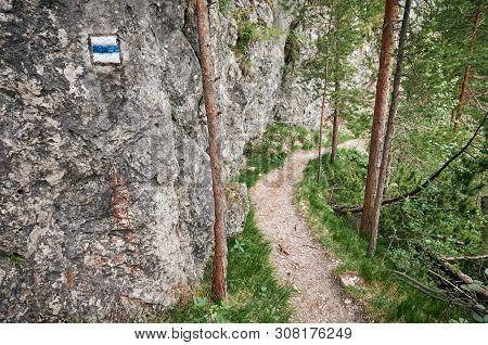 Hiking Trail Marking On A Rock In Mala Fatra National Park, Slovakia.