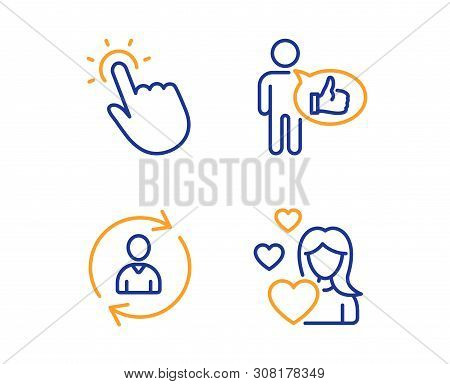 Person Info, Touchpoint And Like Icons Simple Set. Love Sign. Refresh User Data, Touch Technology, T