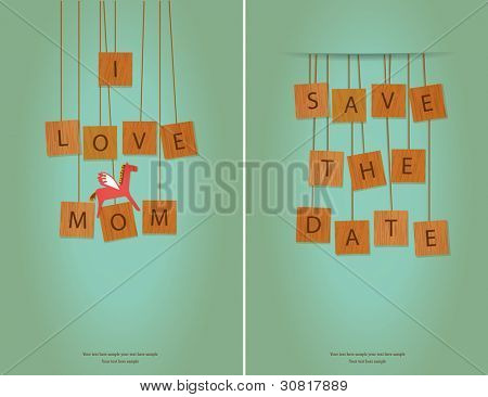 I Love MOM & Save The Date card