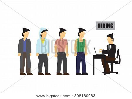 People Queuing In Line To Get Hire. Concept Of Corporate Recruitment Or Job Vacancy. Flat Cartoon Is