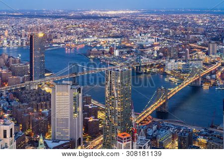 Aerial view of Brooklyn bridge and Manhattan bridge with Brooklyn cityscape skyscrapers bulding from Lower Manhattan in  New York City  New York State NY , USA