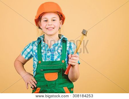 Build Your Future Yourself. Initiative Child Girl Hard Hat Helmet Builder Worker. Tools To Improve Y