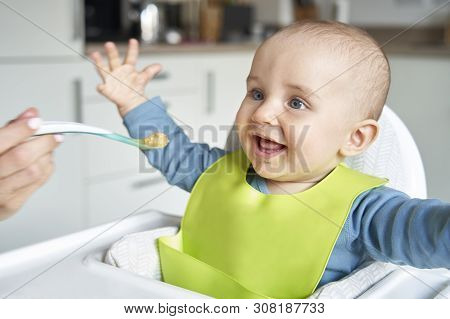 Smiling 8 Month Old Baby Boy At Home In High Chair Being Fed Solid Food By Mother With Spoon