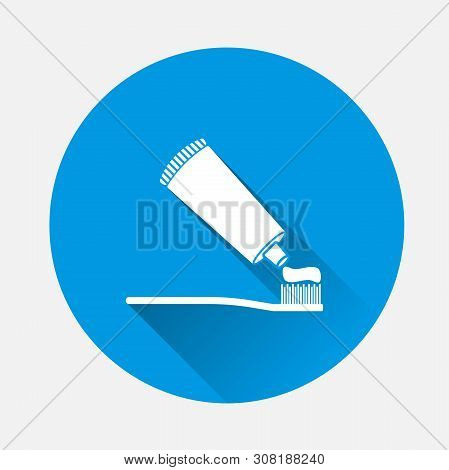 Vector Image Of Toothbrush And Open Toothpaste On Blue Background. Flat Image Toothpaste With Long S