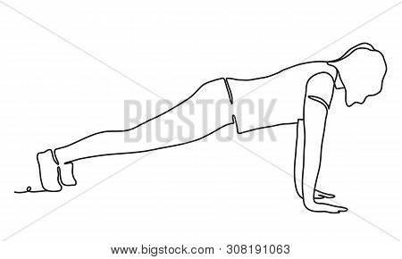 Woman Doing Ashtanga Vinyasa Yoga - Extended Four-limbed Pose. Continuous Line Drawing. Isolated On