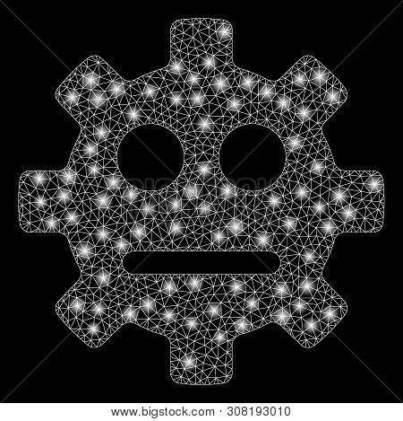 Flare Mesh Gear Pity Smiley With Sparkle Effect. Abstract Illuminated Model Of Gear Pity Smiley Icon