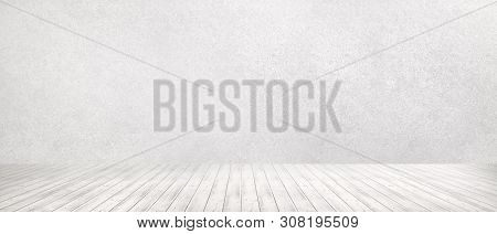 Room Interior Vintage With White Brick Wall And Wood Floor Background. White Concrete Wall And White