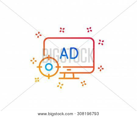 Seo Adblock Line Icon. Search Engine Optimization Sign. Target Symbol. Gradient Design Elements. Lin
