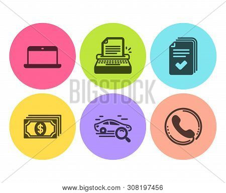 Handout, Typewriter And Laptop Icons Simple Set. Payment, Search Car And Call Center Signs. Document