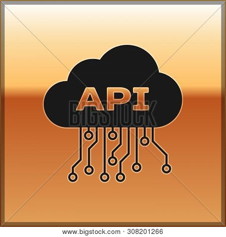 Black Cloud Api Interface Icon Isolated On Gold Background. Application Programming Interface Api Te