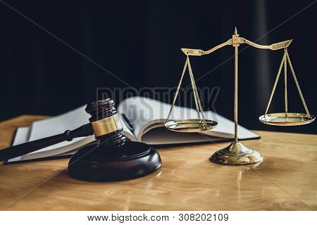 Judge Gavel With Scale Of Justice, Object Documents Working On Table In Courtroom, Legal Law Advice