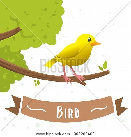 A Yellow Bird Cartoon Character Sitting On A Branch. Small Yellow Bird, Canary, Vector Illustration