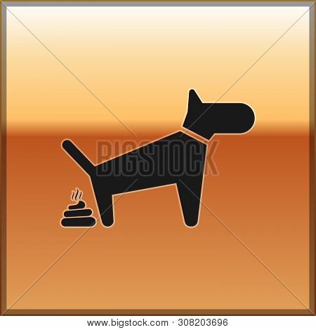 Black Dog Pooping Icon Isolated On Gold Background. Dog Goes To The Toilet. Dog Defecates. The Conce