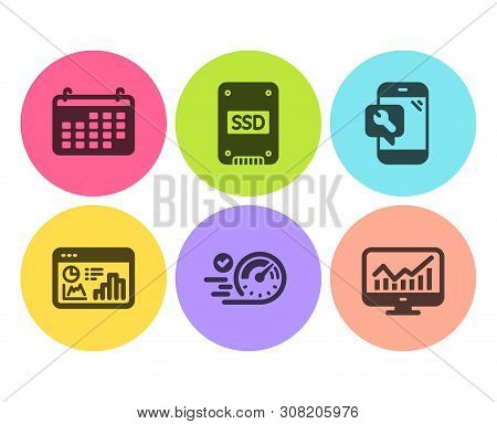 Ssd, Speedometer And Calendar Icons Simple Set. Phone Repair, Seo Statistics And Statistics Signs. S