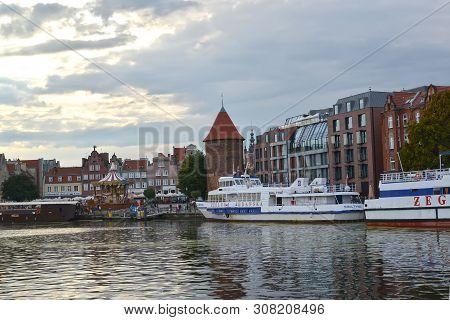 Gdansk, Poland - August 24, 2018: Motlava River Embankment In Twilight